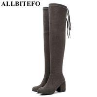 материальное стадо оптовых-ALLBITEFO стадо высота каблука 3 см/5 см/8 см эластичный материал женщины над коленом сапоги обувь осень девушки мода бедра высокие сапоги