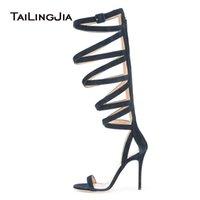 saltos altos de tiras azuis venda por atacado-Azul Strappy Stiletto Sandálias para As Mulheres Na Altura Do Joelho Botas de Verão de Alta Gladiador Senhoras de Salto Alto Sapatos de Vestido de Noite Tamanho Grande 2018