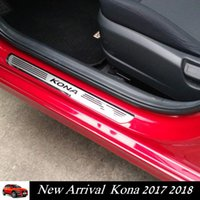 Wholesale door sill scuff guards - Car Door Sills Protector for Hyundai Kona 2017 2018 Stainless Steel Scuff Plate Door Sill Guard for Kona 2018