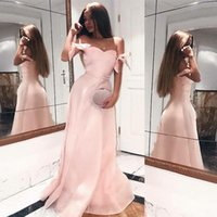 Wholesale Cute Simple Dresses - Pink Satin Prom Dresses With Cute Bow Straps Sweetheart Aline Floor Length Simple Black Girls Party Dresses