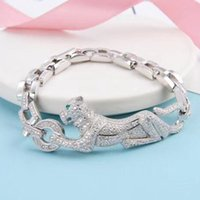große leopardkette großhandel-2018 Marke Reine 925 Sterling Silber Armband für Frauen Panther Armreif voller Stein Leopard Armreif Hochzeit große Kette Armband