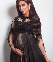 siyah hamile balo elbiseleri toptan satış-2018 Zarif Siyah Hamile A-Line Abiye Uzun Kollu Dantel Aplikler Boncuk Annelik Uzun Gelinlik Modelleri Custom made Artı Boyutu