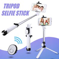 trípode auto al por mayor-Bluetooth Selfie Stick Mini trípode Selfie Stick Autorretrato de mano extensible con Bluetooth Obturador remoto para Iphone X 8 7 Con estuche