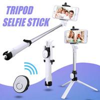 ingrosso mini tripodi-Bluetooth Selfie Stick Mini treppiede Selfie Stick estensibile palmare autoritratto con otturatore remoto Bluetooth per Iphone X 8 7 con scatola