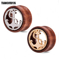 Wholesale plug anchor - Natural Wood Ear Gauges Anchor Flesh Tunnels Double Flared Ear Plugs 8-20mm wholesales piercing Ear body jewelry tunnel