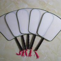 schwarze weiße chinesische malerei großhandel-DIY Blank White Silk Hand Fans Mit Griff Student Kinder Hand Malerei Fine Art Programme Chinesische Vintage Runde Fan 1 6xx Z