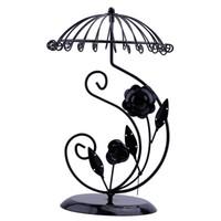 ingrosso supporto fiore nero-Portaombrelli in metallo nero a forma di cuore con 24 fori con pendenti a forma di cuore con pendenti e pendenti
