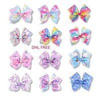 """Wholesale Inspire Hair - 20 colors 5"""" 8"""" Inspired Large JOJO Hair Bow Clips Pastel Rainbow Unicorn hair Bows Barrettes Girls Teens Hair Ornaments Accessories DHL"""