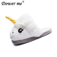 0b9734b8eb44 adults cartoon shoes Canada - Uniform size 2019 Adult Unicorn Home Slippers  Women Unicornio Pantufa Cute