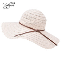 Wholesale wide brimmed fedora - Zgllywr Summer Beach Sun Hats For Women UPF Woman Foldable Floppy Travel Packable UV Hat Cotton Wide Brim Fedora Dress Cap Cover