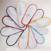 sandalias tejidas blancas al por mayor-Hotel Travel Spa Zapatillas desechables para interiores, no tejidas, sandalias blancas, zapatos de viaje babouche