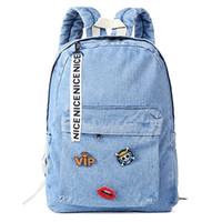 c55f69f162d6a 2018 Denim Sırt Çantası okul çantası genç kızlar için vintage Kadınlar mavi  Schoolbag sevimli çocuk Kot tuval Sırt Çantaları