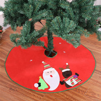 Wholesale santa skirts - 1 PCS Christmas Tree Skirt Diameter 90cm Santa Claus Deer Pattern New Year Christmas Trees Decor Xmas Party Decoration Supplies