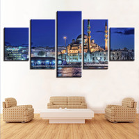 Wholesale picture frame building - Decor Home Wall Art 5 Pieces City Famous Building Blue Mosque Night Scene Paintings Frame Modular Prints Posters Canvas Pictures