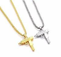 armas de uzi al por mayor-HOT Hip Hop Collares Grabado Pistola Forma Uzi Colgante de Oro de Alta Calidad Collar de Cadena de Oro Joyería de Moda Popular Colgante