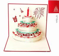 el yapımı kek 3d kart toptan satış-Doğum günü pastası 3D Pop UP Hediye Tebrik 3D Nimet Kartları El Yapımı kağıt silhoue Yaratıcı Mutlu noel kartları Y134