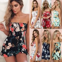 Wholesale Jumpsuits Casual Elastic - Summer Floral Print Elastic Waist Short Chiffon Jumpsuit Women Flare Sleeve Boot Cut Sexy Strapless Romper