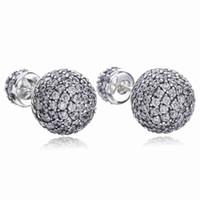 ingrosso orecchini di goccia a sfera argento sterling-Originale di alta qualità 925 Sterling Silver CZ pavimenta gocce d'acqua doppia palla orecchino Fit Pandora Charms gioielli orecchino con scatola