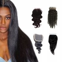 Wholesale deep wave closure side part for sale - Group buy Brazilian Human Hair Closure water wave Peruvian hair deep wave body wave straight bleached knots free middle part Swiss lace closure