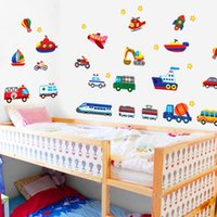 Wholesale Wall Decal Cars Trucks - Sweet Home Train Car Truck Helicopter Bus Removable Wall Sticker Decal Boy Kids Room Decor Home Decoration Wall Paper