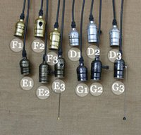 Wholesale Vintage Light Bulb Holder - Wholesale price Vintage Retro E27 E26 bulb adpater Pendant Lamp Holder+Wire+Ceiling base knob switch pull chain screw bulb Socket promotion
