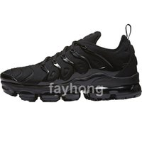 Wholesale Flat Packing - Vapormax TN Plus Olive Mens Sports Running Shoes Sneakers Men Run In Metallic White Silver Colorways For Male Shoe Pack Triple Black