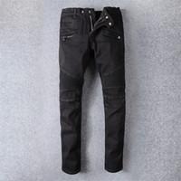 Wholesale zipper joggers resale online – Balmain Mens jeans Slim Fit Ripped Jeans Men Hi Street Mens Distressed Denim Joggers Knee Holes Washed Destroyed Jeans
