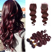 Wholesale burgundy red hair weave closure resale online - Body Wave Burgundy Hair Weave With Lace Closure j Wine Red Brazilian Human Virgin Hair Bundles With Top Closure