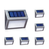 luces solares para escaleras al por mayor-Nuevo Solar Power 2LED Outdoor Garden Pathway Stairs Lámpara de luz Energy Saving Solar Lamp Warm White / White Solar Garden Light