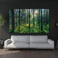 ingrosso decorazione dei boschi domestici-4 Pannello Foresta e Alba SunliXWAt Pittura ad olio Green Tree Woods Stampa su tela Modern Wall Art Home Decoration Home Decor