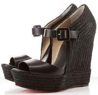 Wholesale Wood Wedge Sandals - Summer Designer Women Platform Wedge Sandals Red Bottom Praia Espadrille High Heels Ladies Wedges Sexy Peep Toe Women's Pumps
