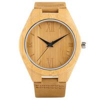 handgemachte hölzerne geschenke für männer großhandel-Einfache Holz Herrenuhren arabische Ziffern handgemachte hölzerne Uhr Geschenke für Mann Armbanduhren Quarzuhr Stunden