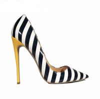ingrosso scarpe da stili di celebrità-2018 Nuove donne rosso inferiore pompe bianco nero giallo striscia sexy tacchi alti stile celebrità donne scarpe di grandi dimensioni 35-44 alta 8 cm 10 cm 12 cm