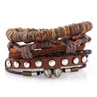 мужские кожаные браслеты на заказ оптовых-Модные мужские браслет модные BOHO кожаный слой браслет Добро пожаловать пользовательские OEM ювелирные изделия