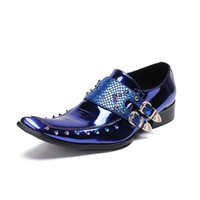 Wholesale double buckle shoes mens for sale - Group buy Italian Mens Formal Shoes Bright Patent Leather Comfortable Double Monk Buckle Straps Rivets Wedding Shoes Male