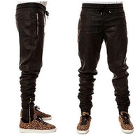 mens deri fermuarlı sıska pantolon toptan satış-Serin Adam Yeni Kanye West Hip Hop Büyük Snd Tall Moda Fermuarlar Jogers Pantolon Joggers Dans Kentsel Giyim Erkek Faux Deri pantolon