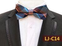 lazo de matrimonio al por mayor-23 colores de moda a rayas de punto impresión pajaritas novio hombres de colores a cuadros corbata Gravata matrimonio masculino boda mariposa pajaritas