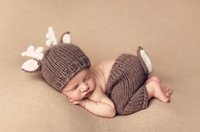 Wholesale Newborn Hats For Photography - Baby Outfits Deer Newborn Photography Accessories Handmade Crochet Baby Beanie Hats And Pants For Photo Props Baby Photography