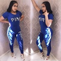 Wholesale black art tee shirts - PINK Women Summer Sports Suit Stretchy Pants T-Shirts Sets Short Sleeve Print Letter Tees Tops Trousers Leggings Tracksuit Outfits S-3XL DHL