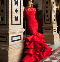 Indian Church Long Sleeve Red Wedding Dress 2016 Lace Mermaid Gowns Open Back Bride Dresses Vestido De Noiva Vintage