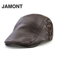 şapka kapağı erkek deri toptan satış-Erkek PU Deri Bere Kapaklar Sping Sonbahar Yeni Erkek Ayarlanabilir PU Saçakları Şapka Kap Moda Bandaj Casquette Düz Şapka