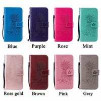 Wholesale flower flip leather pu wallet online - Imprint Pineapple Flower Leather Wallet Case For Iphone XR XS MAX X S SE S Galaxy Note S9 Flip Cover ID Card Slot Fruit Strap