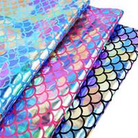 organza seda verão vestidos venda por atacado-David acessórios 50 * 145 cm escamas de peixe holograma 2ways esticar tecido de malha para tecido têxtil de casa de costura boneca, c2948
