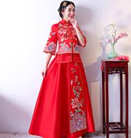 vestidos de fiesta xxl al por mayor-Vestidos de novia de novia de estilo chino tradicional rojo Bordado cheongsam bata vestido de fiesta de noche se casan con Qipao Vestido S-XXL