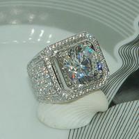 jóia popular em prata esterlina venda por atacado-Impressionante artesanal de moda jóias 925 prata esterlina popular rodada corte topázio branco CZ diamante completa Gemstones homens Wedding Band anel presente