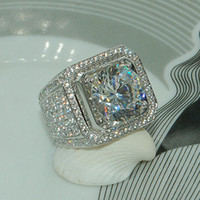 Wholesale Gemstone Diamond Rings - Stunning Handmade Fashion Jewelry 925 Sterling Silver Popular Round Cut White Topaz CZ Diamond Full Gemstones Men Wedding Band Ring Gift