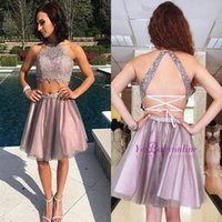 Wholesale two piece cute short dresses - Sexy Criss Cross Backless Two Pieces Homecoming Dresses 2018 Junior 8th Grade Party Dresses Cute Pink Short Prom Dresses Cocktail Gowns