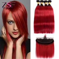 düz kırmızı saç uzantıları toptan satış-ZSF Sıcak Satış Brezilyalı Ombre Düz İnsan Saç Dokuma Paketler Ile Frontal 3or4 Demetleri ile 1B Kırmızı Ombre Uzantıları 13 * 4 Frontal Saç