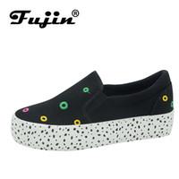 4fdce089a 2019 mulheres Casual sapatos plataforma de plataforma Casual 3 cm Fujin dot  slip em calçados femininos plana Casual sapato de lona preto branco Sneakers