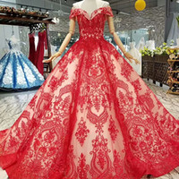 Wholesale art curves online - 2019 Red Curve Shape Evening Off Shoulder Sweetheart Pleat Party Dress Puffy Ball Gown Sexy Women Party Dress Long Girl Pageant Dress